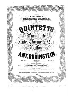 Quintet for Winds and Piano in F Major, Op.55: Partitura completa by Anton Rubinstein