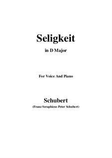 Seligkeit (Bliss), D.433: D maior by Franz Schubert