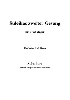 Suleika II, D.717 Op.31: For voice and piano (G flat Major) by Franz Schubert