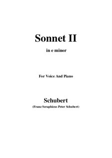 Sonnet No.2 in G Minor, D.629: For voice and piano (e minor) by Franz Schubert