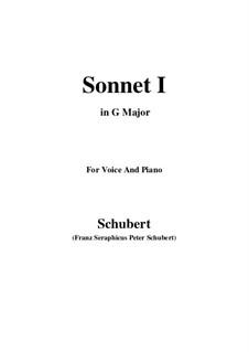 Sonnet No.1 in B Flat Major, D.628: Para voz e piano (G maior) by Franz Schubert
