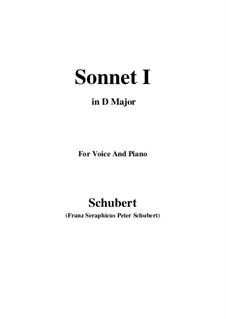 Sonnet No.1 in B Flat Major, D.628: para voz e piano (D Maior) by Franz Schubert