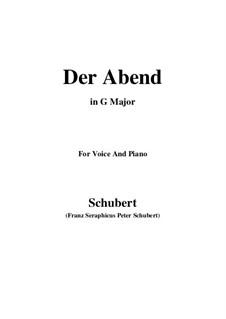 Der Abend (The Evening), D.221 Op.118 No.2: G maior by Franz Schubert