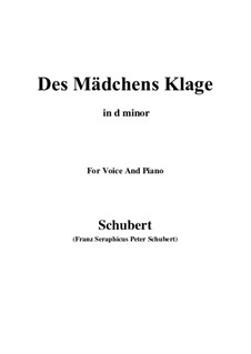 Des Mädchens Klage (The Maiden's Lament), D.191 Op.58 No.3: For voice and piano (d minor) by Franz Schubert
