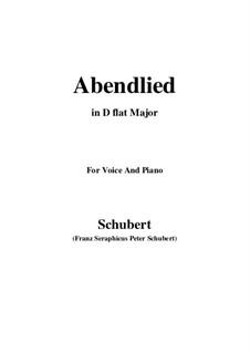 Abendlied (Evening Song), D.499: D flat Major by Franz Schubert