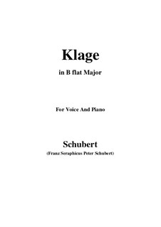 Klage (Lament), D.415: For voice and piano (g minor) by Franz Schubert
