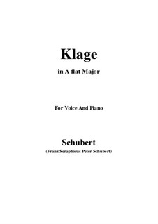 Klage (Lament), D.415: For voice and piano (f minor) by Franz Schubert