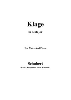 Klage (Lament), D.415: For voice and piano (c sharp minor) by Franz Schubert