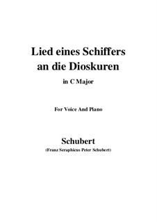 Lied eines Schiffers an die Dioskuren (Boatman's Song to the Dioscuri), D.360 Op.65 No.1: For voice and piano (C Major) by Franz Schubert