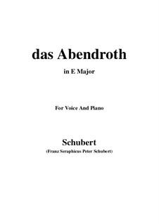 Das Abendrot (Sunset), D.627 Op.173 No.6: E Major by Franz Schubert