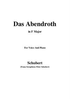 Das Abendrot (Sunset), D.627 Op.173 No.6: F Maior by Franz Schubert