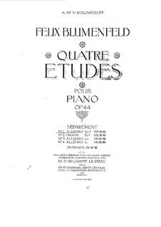 Four Etudes for Piano, Op.44: Etudes No.1, 2, 4 by Felix Blumenfeld