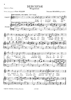 No.4 Cradle Song: For soprano (or tenor) and piano by Johannes Brahms