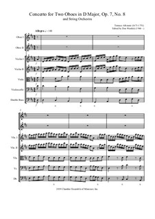 Concerto No.8 in D Major: For two oboes and string orchestra by Tomaso Albinoni