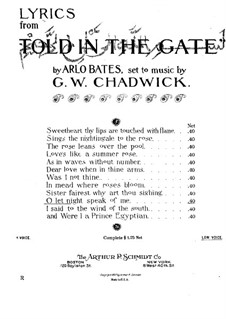 Lyrics from 'Told in the Gate': Oh, Let Night Speak of Me by George Whitefield Chadwick