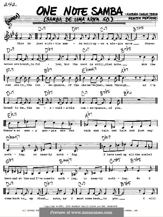 One Note Samba (Samba De Uma Nota): melodia by Antonio Carlos Jobim