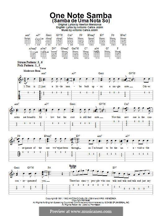 One Note Samba (Samba De Uma Nota): Para guitarra com guia by Antonio Carlos Jobim