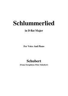 Le berceuse (Slumber Song), D.527 Op.24 No.2: For voice and piano (D flat Major) by Franz Schubert