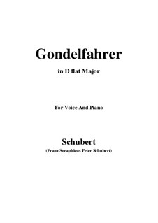 Gondelfahrer (The Gondolier), D.808: D flat Major by Franz Schubert