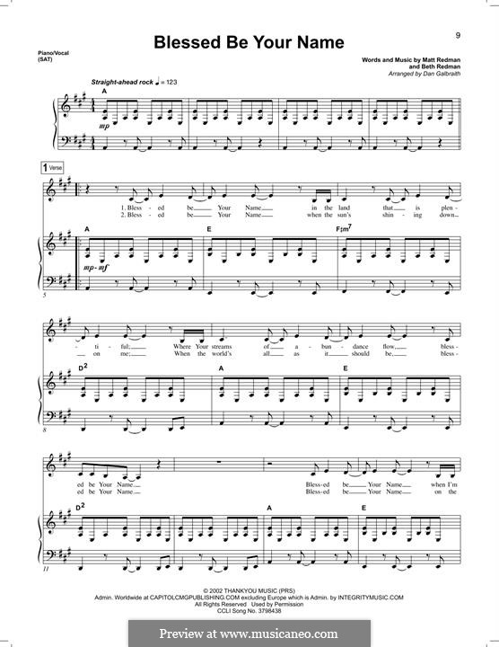Blessed Be Your Name: Para vocais e piano by Matt Redman, Beth Redman