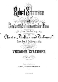 Studies in the Form of Canons, Op.56: para trio de pianos by Robert Schumann