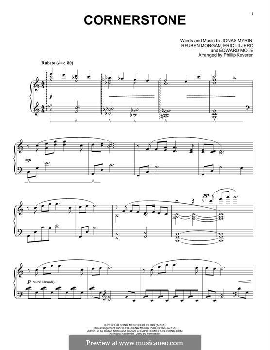 Cornerstone (Hillsong): Para Piano by Jonas Myrin, Reuben Morgan, Eric Liljero