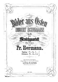 Pictures from the East, Op.66: For string quartet – violin I part by Robert Schumann