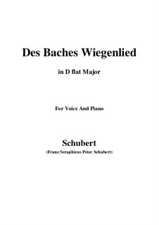 No.20 Des Baches Wiegenlied (The Brook's Lullaby): For voice and piano (D flat Major) by Franz Schubert