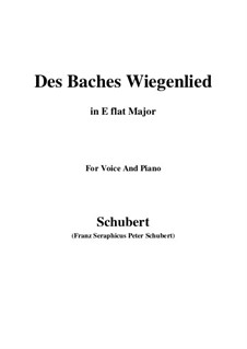 No.20 Des Baches Wiegenlied (The Brook's Lullaby): para voz e piano (E flat maior) by Franz Schubert