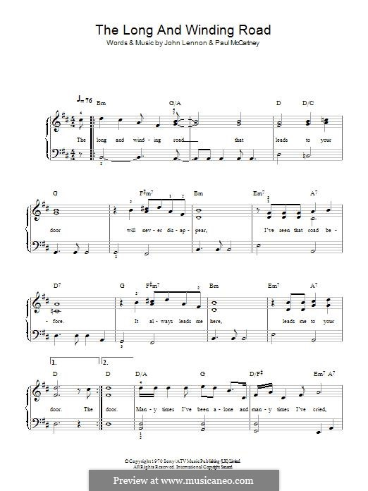 The Long and Winding Road (The Beatles): Para Piano by John Lennon, Paul McCartney