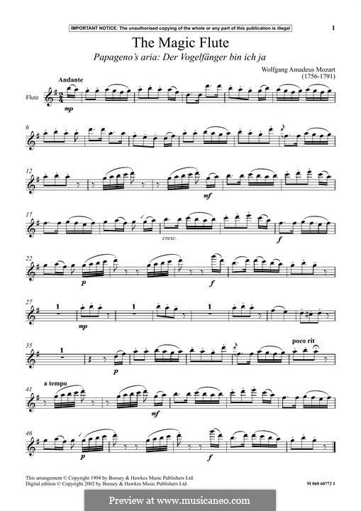 Papageno's Aria: para flauta by Wolfgang Amadeus Mozart