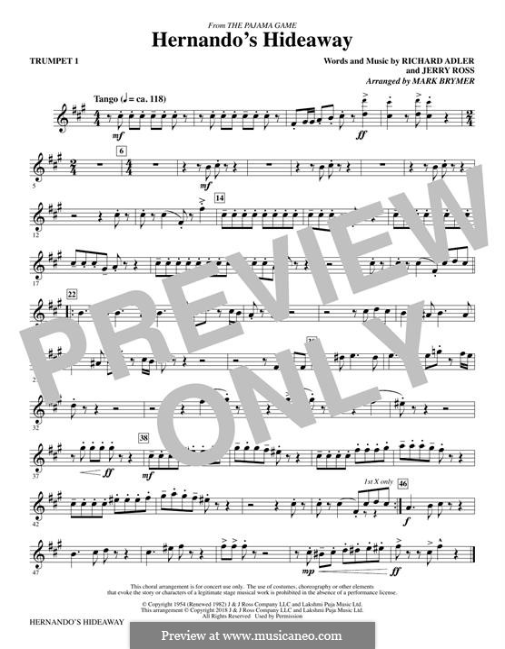 Hernando's Hideaway: Trumpet 1 part by Jerry Ross, Richard Adler