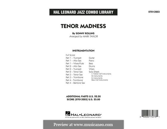 Tenor Madness: Conductor score (full score) by Sonny Rollins