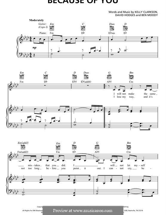 Because of You: Para vocais e piano (ou Guitarra) by Ben Moody, David Hodges, Kelly Clarkson