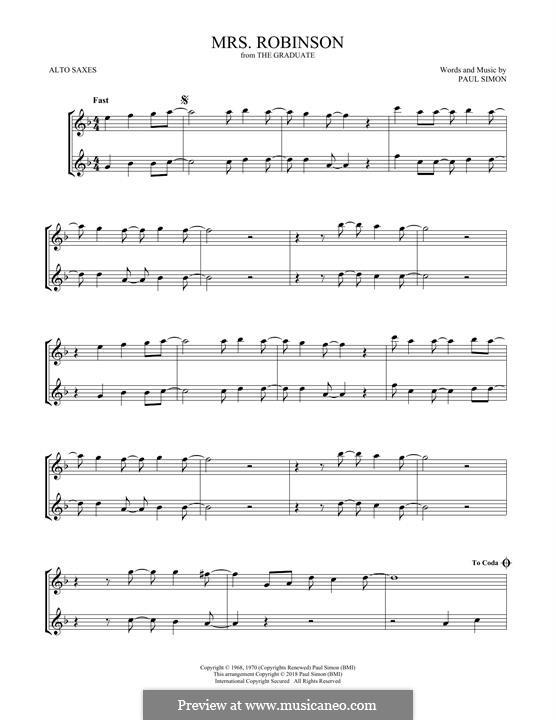 Mrs. Robinson (Simon & Garfunkel): para dois alto saxophones by Paul Simon