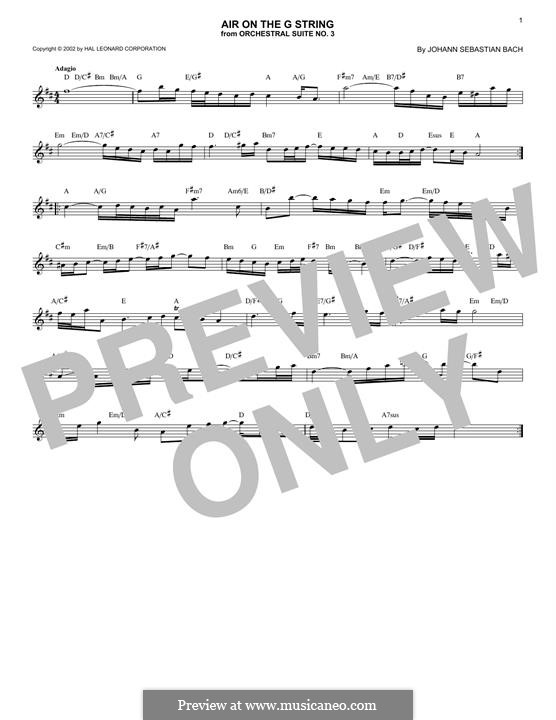 Aria (Printable Scores): Version for any instrument by Johann Sebastian Bach