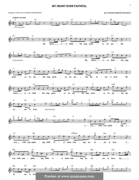 Also hat Gott die Welt geliebt (God so Loved the World), BWV 68: Fragment, melody line by Johann Sebastian Bach