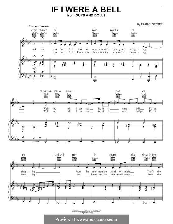 If I Were a Bell: Para vocais e piano (ou Guitarra) by Frank Loesser