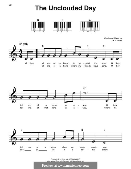 The Unclouded Day (from Heavenly Home: Three American Songs): Para Piano by J.K. Alwood