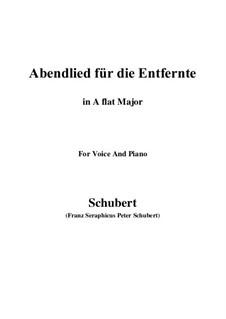 Abendlied für die Entfernte (Evening Song for the Distant Beloved), D.856 Op.88 No.1: para voz e piano (A flat maior) by Franz Schubert