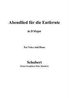 Abendlied für die Entfernte (Evening Song for the Distant Beloved), D.856 Op.88 No.1: para voz e piano (D Maior) by Franz Schubert