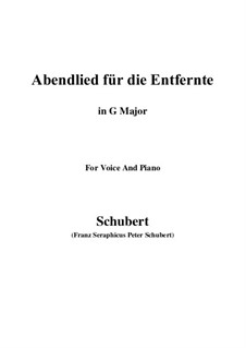 Abendlied für die Entfernte (Evening Song for the Distant Beloved), D.856 Op.88 No.1: Para voz e piano (G maior) by Franz Schubert