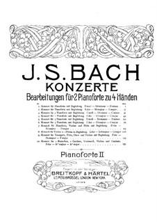 Concertos. Arrangement for Two Pianos Four Hands: piano parte II by Johann Sebastian Bach