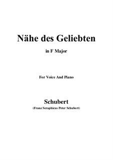 Nähe des Geliebten (Nearness of the Beloved), D.162 Op.5 No.2: Para voz e piano (F maior) by Franz Schubert