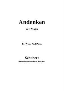 Andenken (Remembrance), D.99: para voz e piano (D Maior) by Franz Schubert