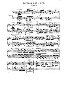 Toccata and Fugue in D Minor, BWV 565: For piano by M. Reger by Johann Sebastian Bach