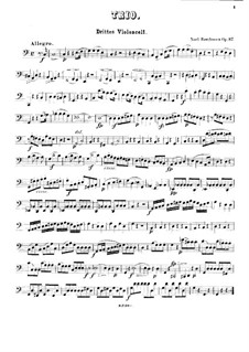 Trio for Two Oboes and Cor Anglais, Op.87: Version for three cellos – cello III part by Ludwig van Beethoven