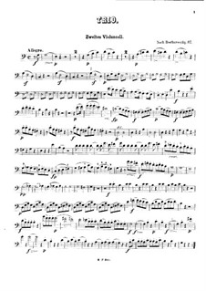 Trio for Two Oboes and Cor Anglais, Op.87: Version for three cellos – cello II part by Ludwig van Beethoven