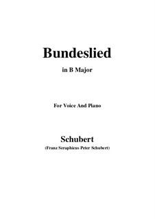 Bundeslied (Song of Fellowship): B Major by Franz Schubert