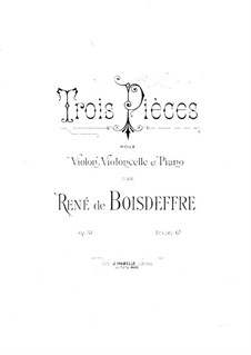 Three Pieces for Piano Trio, Op.54: parte do violino by René de Boisdeffre